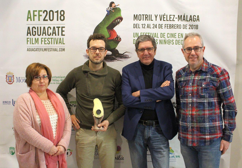 Mercedes Sánchez César Roldán Antonio Dechet y Francisco Ruiz en la presentación en Motril de la II Edición del Aguacate Film Festival