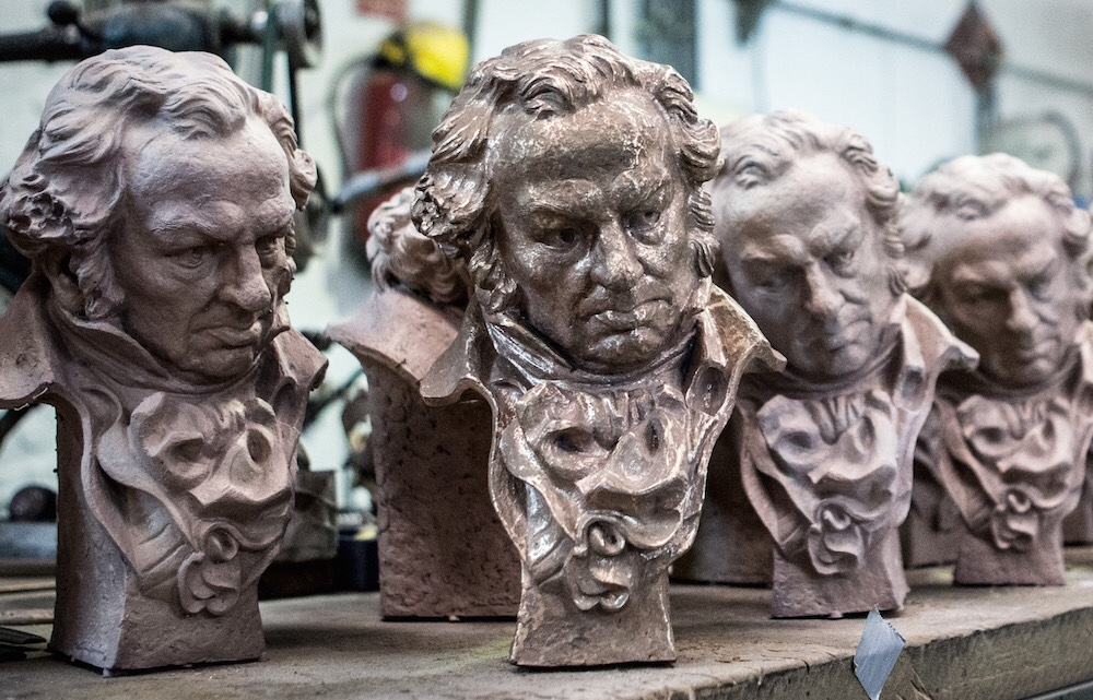 Goya Awards Trophies in Production by artist JosÈ Luis Fern·ndez